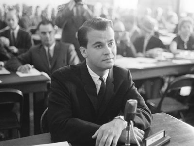 WABC's Alan Freed being questioned in court over a case of Payola. (Image - Performing Songwriter)