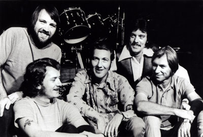 The TCB Band in the early '70s: Ronnie Tutt, Jerry Scheff, James Burton, John Wilkinson and Glen D. Hardin.